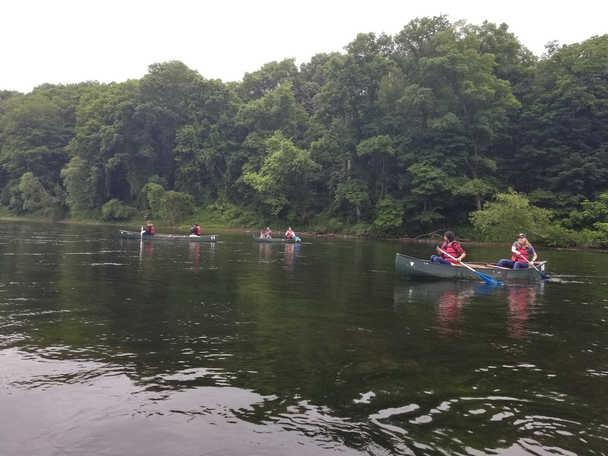Wright Center Residents canoeing on Delaware River